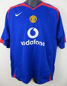 new arrival e1b9f fbd55 Details about Nike 2005-06 Manchester United Football Shirt Away Soccer  Jersey Blue 45/47 XL