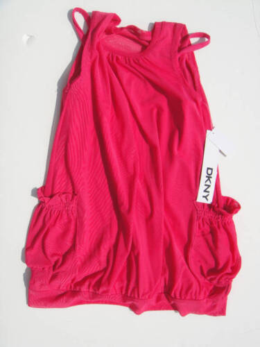 DKNY NWT Girl 2PC Tank Top Shirt Logo Legging Pant Hot Pink White Black 12 12m