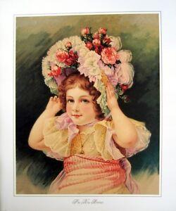 art-print-THE-NEW-BONNET-Victorian-Little-Girl-hat-w-roses-bows-vtg-repro-20x24