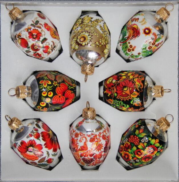 8 Ukrainian Glass Christmas Ornaments, Pysanka Hen Size, Xmas Orn., Flowers #9