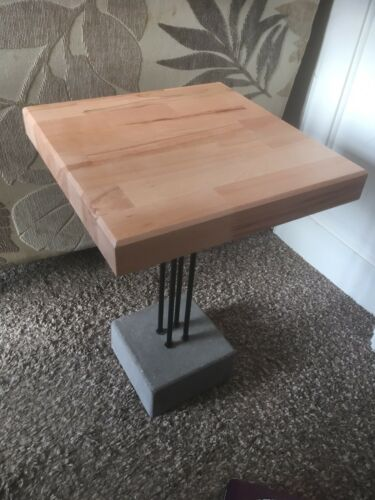 Handmade Beech Side Table with upcycled Legs & concrete base