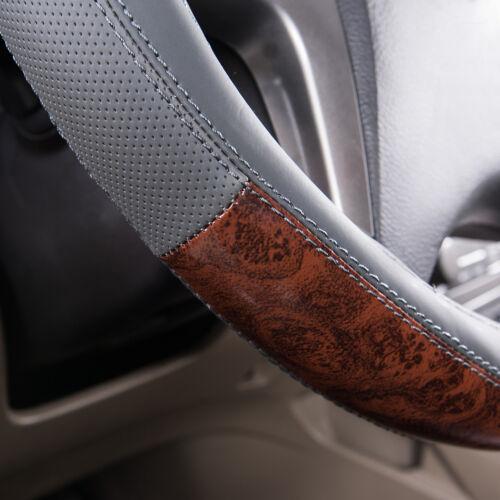 Universal Gray Leather Wood Grain Steering Wheel Cover Waterproof 38cm Anti-slip