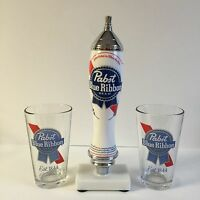 Pabst Blue Ribbon Pbr Beer Pub Style Tap Handle & Two (2) 16 Oz Pint Glass
