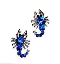 EARRINGS Posts ST Scorpions Scorpio Zodiac Blue Rhinestone SCORPION