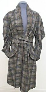 MAX-AZRIA-Runway-Fall-2014-Wool-Belted-Trench-Coat-Plaid-Coat-Brown-Size-Small