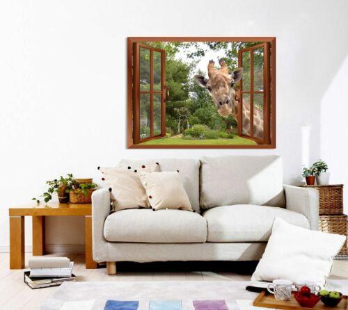 """36/""""x48/"""" A Curious Giraffe with an Open Window// Wall Mural Home Post Decor"""