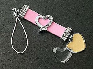 New Pink Leather Strap Crystal Heart Dangle Photo Cell Phone Charm Free Shipping