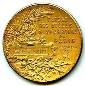 1909-Paris-Art-Nouveau-Gilt-Silver-Medal-by-Roty-Albert-Renault-Painting-course
