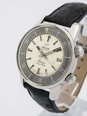 Rare Enicar SHERPA SUPER DIVE 600 automatic wristwatch, with date, 1960´s