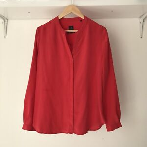 David-Lawrence-Pure-Silk-Raspberry-Red-Long-sleeve-Shirt-Blouse-AU-Size-12