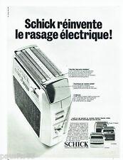 PUBLICITE ADVERTISING 086  1967  le rasoir éléctrique Schick confort control