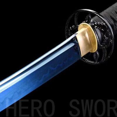 Japanese samurai katana clay tempered sword sharp blade 1095 carbon steel