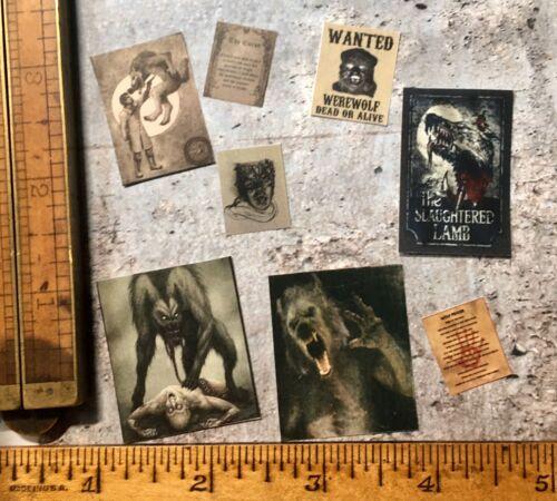 E15 Vintage Werewolf 8 Pcs Dollhouse Miniature Halloween 1:12