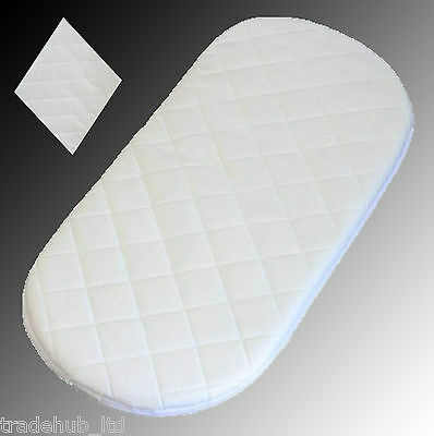 67 x 28 x 3.5 cm Moses Basket Foam Mattress Bassinet Baby PRAM Oval Fully Breathable Quilted