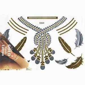 4a744fa19 Image is loading Waterproof-Temporary-Tattoo-Metallic-Gold-Body-Art-Flash-