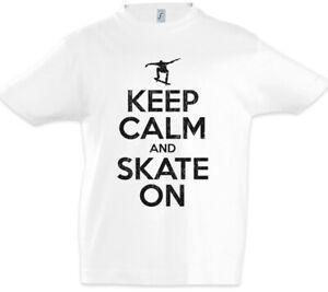 Keep Calm And Skate On Kids Boys T-shirt Fun Skate Sk8 Or Die Skater