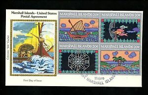 Postal-History-US-Marshall-Islands-FDC-31-34-Postal-Service-Colorano-Silk-1984