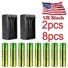 8PCS 18650 Battery 5000mah 3.7V Rechargeable For Led Torch +2X Smart Charger TR