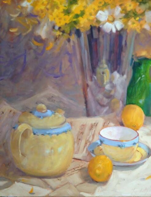 Yellow Painting Still Life  20x24 Impressionism Orig Oil Margaret Aycock  canvas