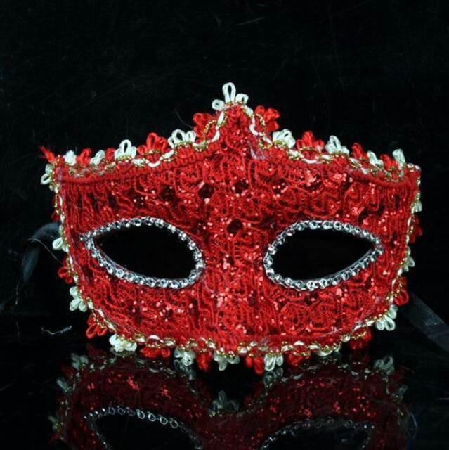 Red Lace Masquerade Venetian Mask Halloween Christmas New Year Eve costume party