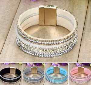 New-Fashion-Leather-Wrap-Wristband-Cuff-Punk-Crystal-Magnetic-Bracelet-Bangle-H