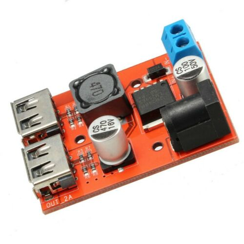 DC-DC 9//12//24//36V to 5V 3A Dual USB Car Charger Step-down Buck Power Module ED