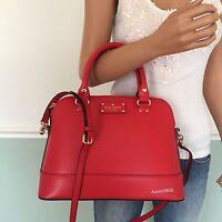 Kate Spade Red Wellesley Leather Satchel Shoulder Bag Crossbody Purse