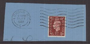 Great-Britain-KGV1-1-d-brown-on-piece-day-of-issue-postmark-30-July-1937