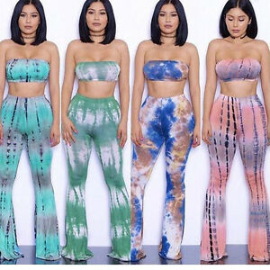 2055748aa0 Tie Dye Flared Trousers High Waist Wide Leg Long Pants Trousers with ...