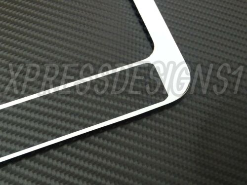 GMC Chrome Metal License Plate frame Carbon Fiber Chrome Text