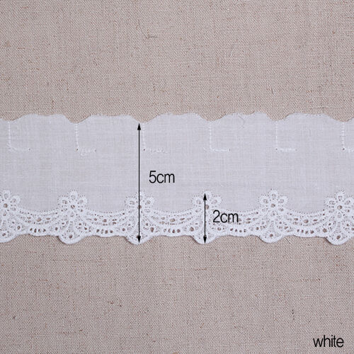 """white yh775 laceking 14Yds Broderie Anglaise eyelet cotton lace trim 2/"""" 5cm"""
