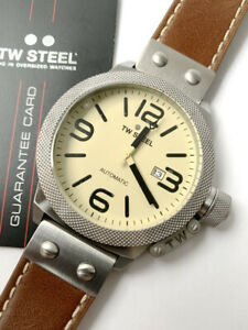 TW Steel Watch * CS16 Canteen 50MM Automatic Cream Dial Brown Leather NO BOX