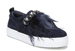 Sam Edelman Lelani Women's Blue Suede Faux Feather Sneakers Sz 7M 2210