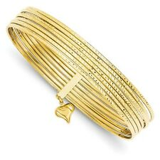 14k 8in Yellow Gold D/C Slip On 7 Bangles