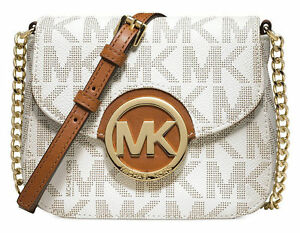 2ab6a44ad11af6 Michael Kors #033 Ivory PVC Vanilla Fulton Small Logo Crossbody Bag Purse.  +. $70.00Brand New