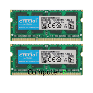 crucial 16GB KIT 2X8GB PC3L-10600S DDR3-1333MHZ 1.35v SO-DIMM Laptop Memory RAM
