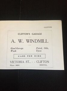 H7-1-Ephemera-1930s-Advert-A-W-Windmill-Clifton-Garage-Bristol