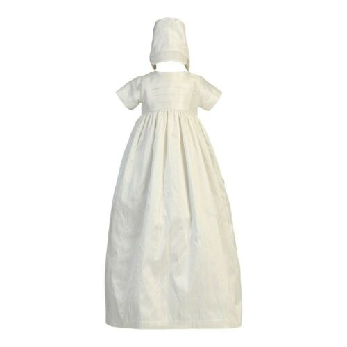 Lito Baby Girls Boys White Silk Heirloom Gown Bonnet Set Baptism Set 0-18M
