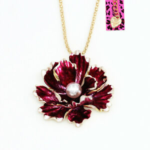 Betsey-Johnson-Enamel-Pearl-Peony-Flower-Pendant-Chain-Necklace-Brooch-Pin-Gift