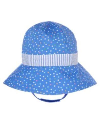 GYMBOREE BUBBLY WHALE BLUE w// COLOR DOTS N BOW SUN HAT 0 3 6 12 18 NWT-OT