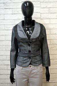 ARMANI-Giacca-Taglia-42-S-Cappotto-Jacket-Jeans-Donna-Giubbotto-Cotone-Grigia