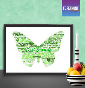 Image Is Loading Personalised Best Friend Butterfly Word Art Print Perfect