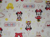 Disney Baby Minnie Mouse On White Quilting Fabric Camelot 100% Cotton Fq Bty