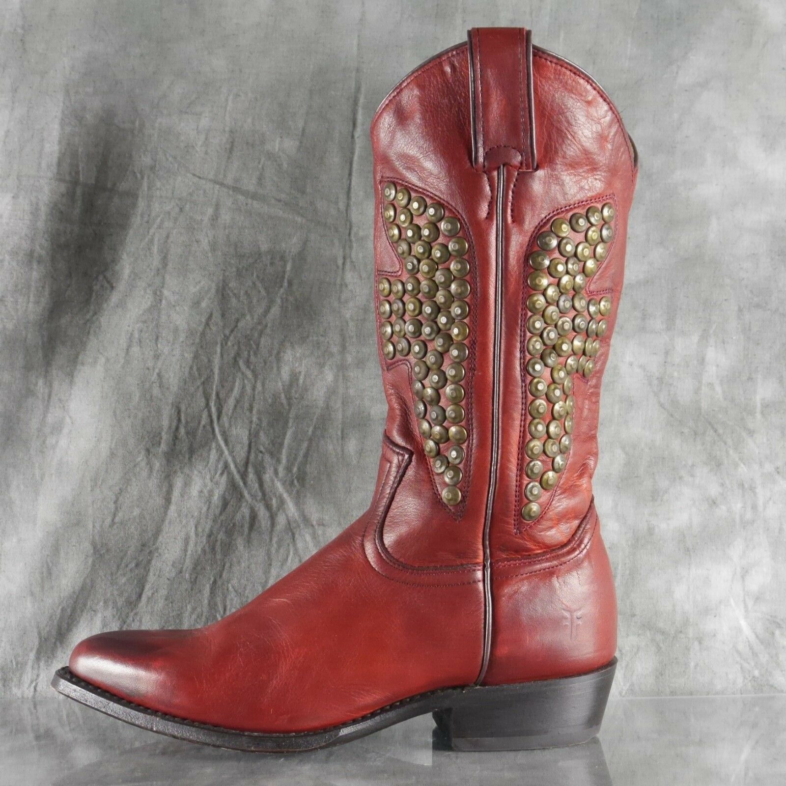 EUC Frye Billy Hammerouge Studded Pull On Burnt rouge Leather Cowboy bottes 7.5 ANB