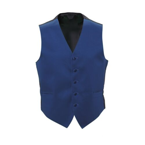 New Mens Royal Blue Satin Tuxedo Vest Bow Tie Real Pockets USA MADE Best Quality