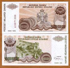Croatia, Knin 50,000,000,000 (5000000000) Dinara, 1993, P-R29, UNC > Bosnian War