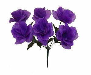 Aimable 6 Open Roses ~ Plusieurs Couleurs ~ Décorations Mariage Bouquets Soie Mariage Fleurs-afficher Le Titre D'origine Belle Qualité