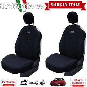 Schonbezüge Foderine nur Vorne Schwarz Paar Sitzbezüge Fiat 500 auf Messen