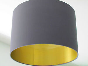 New handmade brushed gold lined charcoal grey drum lampshade image is loading new handmade brushed gold lined charcoal grey drum aloadofball Image collections
