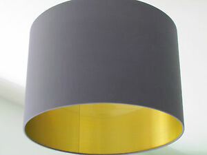 New handmade brushed gold lined charcoal grey drum lampshade image is loading new handmade brushed gold lined charcoal grey drum aloadofball Choice Image